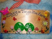2 Character 3d Tortoises Plaque Sign Wooden For Bedroom, Vivarium Tortoise Table Handmade OOAK